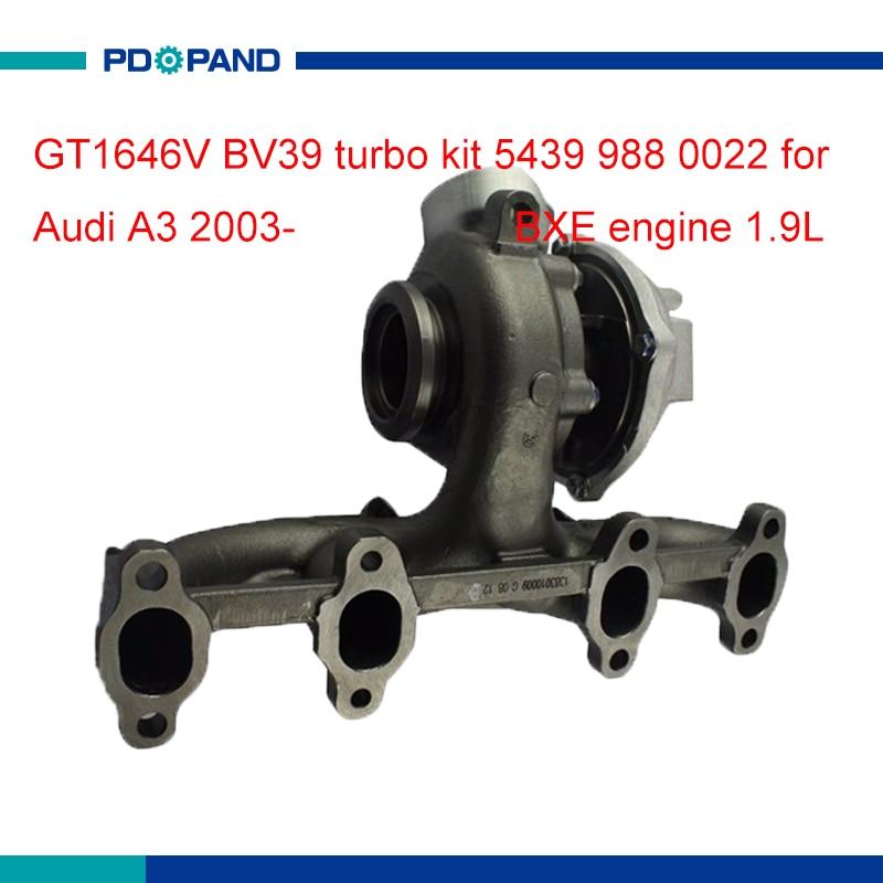 Motor conjunto de turbo cargadores GT1646V parte compresor para Audi A3 Sportback BXE 1.9L 54399880022, 54399700022, 54399880011, 54399700011
