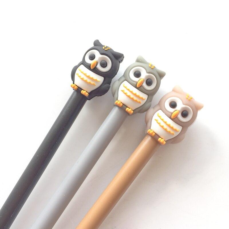 2X Kawaii Silicone Owl Head Gel Pen Rollerball Pen Writing Pen School Office Supply Student Stationery 0.5mm Black Ink