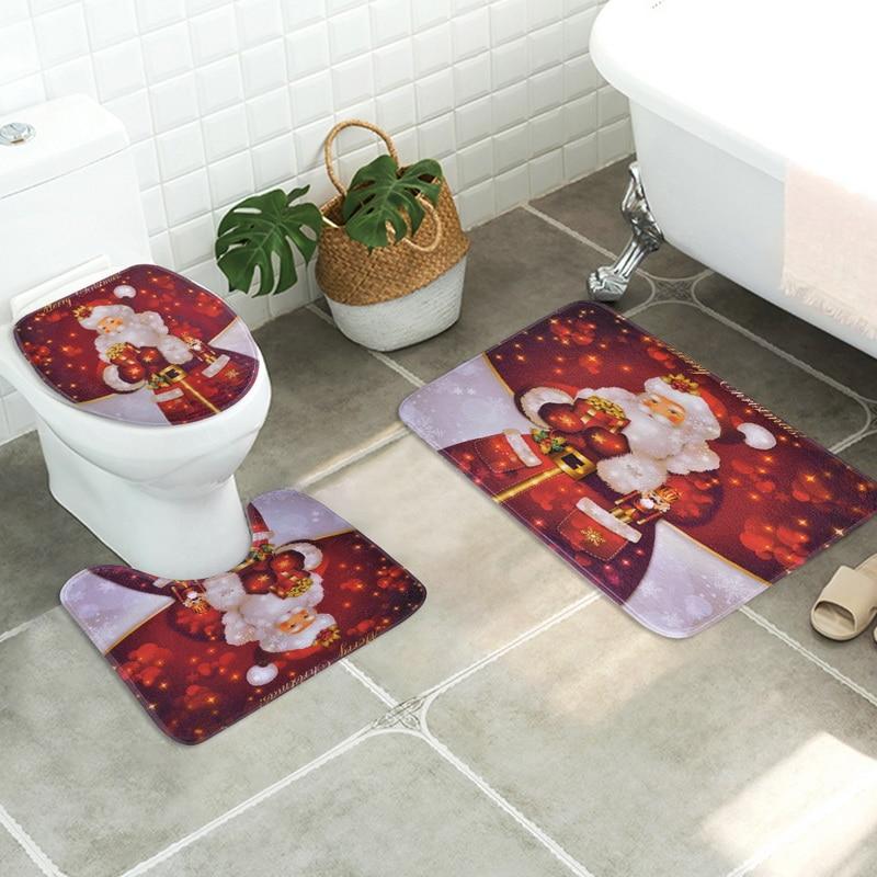 3D Natal Sede Tolilet Cobrir Luxo Tampa de Assento Do Toalete Macio Quente Poliéster 3 pçs/set