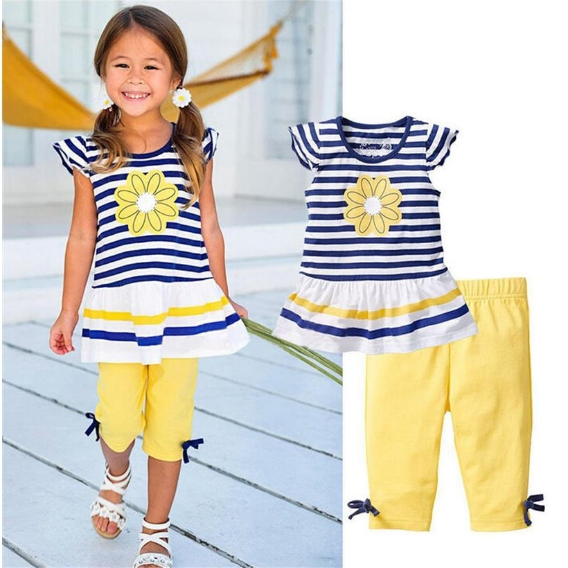 Conjuntos de ropa a rayas de flores para niñas, Jumper para niños y pantalón, traje, Tops, Leggings para niñas, camiseta, pantalones cortos, trajes de algodón