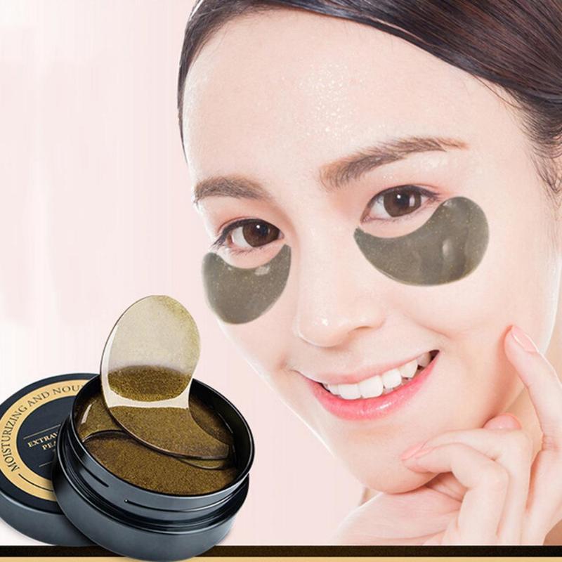 1 doos Zwarte Parel Gel Ogen Masker Collageen Eye Mask Dark Circle Ooglid Anti-rimpel Vocht Patch Masker Eye zak Oogzorg Hot Koop