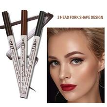 3Pcs/set Eyebrow Pencil Eyebrow Pen Waterproof Fork Tip Eyebrow Tattoo Pen Fine Sketch Liquid Eyebrow Enhancers For Women Girls