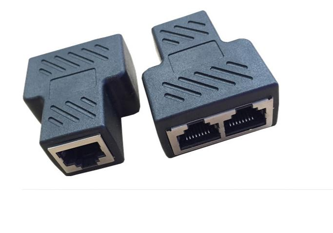 Adaptador divisor RJ45, conector LAN de 1 a 2 vías, conector RJ45 8P8C A Adaptador de cable de conexión Ethernet de red Dual RJ45, 100 Uds.