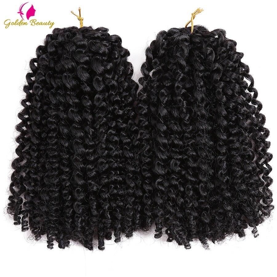 La belleza de oro Marley trenzas de Crochet rizado Ombre del pelo sintético rizado cabello torzado trenzado extensiones de las mujeres 8 pulgadas 12 pulgadas