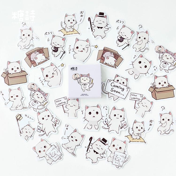 45-pz-lotto-carino-selfie-gatti-adesivo-decorativo-adesivi-scrapbooking-fai-da-te-diario-album-di-etichetta-bastone-di-cancelleria