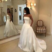 Simple Boho a-ligne robes De mariée sans bretelles Satin drapé robe De mariée arc ceintures Vestidos De Noiva robes De mariée moins cher
