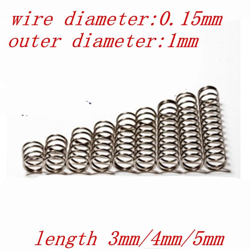 Диаметр проволоки 0,15 мм, наружный диаметр компрессионной пружинки 1 мм, длина 3 мм/4 мм/5 мм, 20 шт.