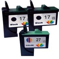 3Pcs Compatible Ink Cartridge For Lexmark 17 27 Black & Color for i3 X1100 X1150 X1270 X2250 X75 Z13 Z23 Z34 Z515 Z517