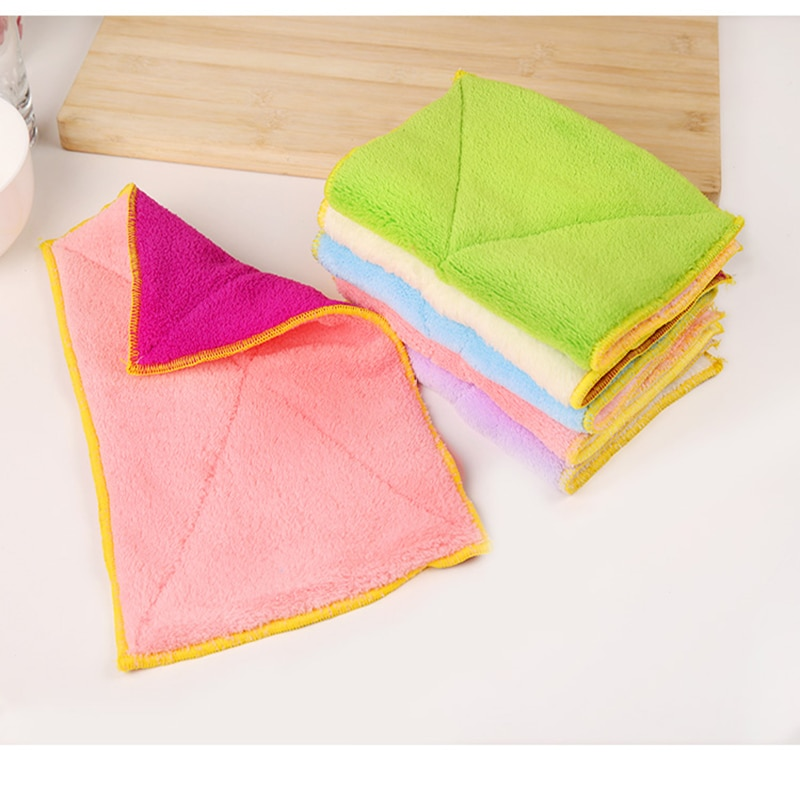 5pcs/10pcs 100% Pure Bamboo Fibre Dish Cloth Oilproof Non-sticking Double-deck Waste-absorbing Thickening Kitchen Cleaning Cloth enlarge