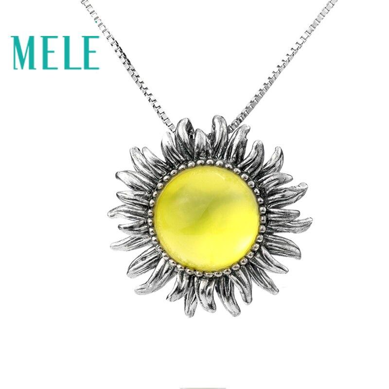 Colgante de plata Prehnita amarilla Natural MELE, redondo de 12mm para tamaño de piedra, color amarillo intenso, diseño de flores, joyería de moda