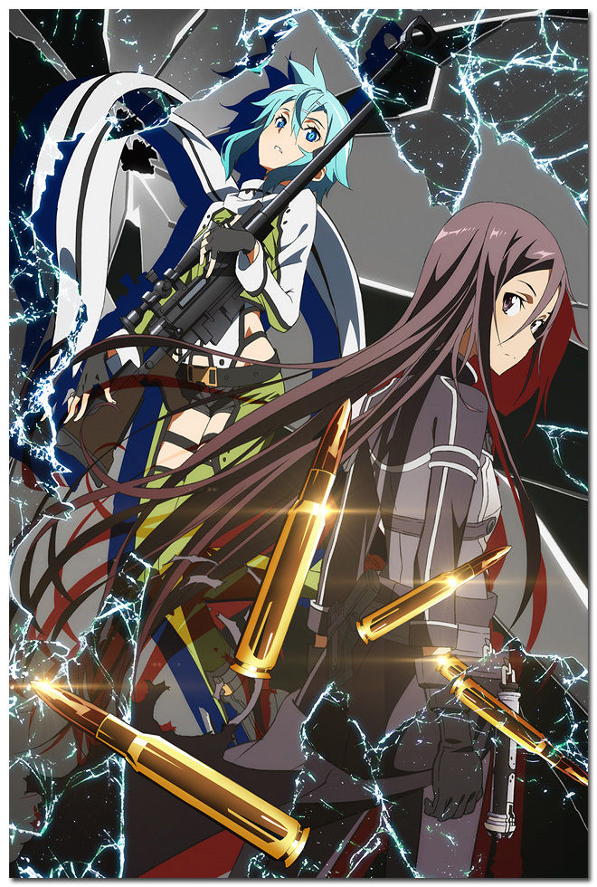 El arte de la espada en Línea 2 anime kirito y Sinon de cartel de decoración para dormitorio 0240