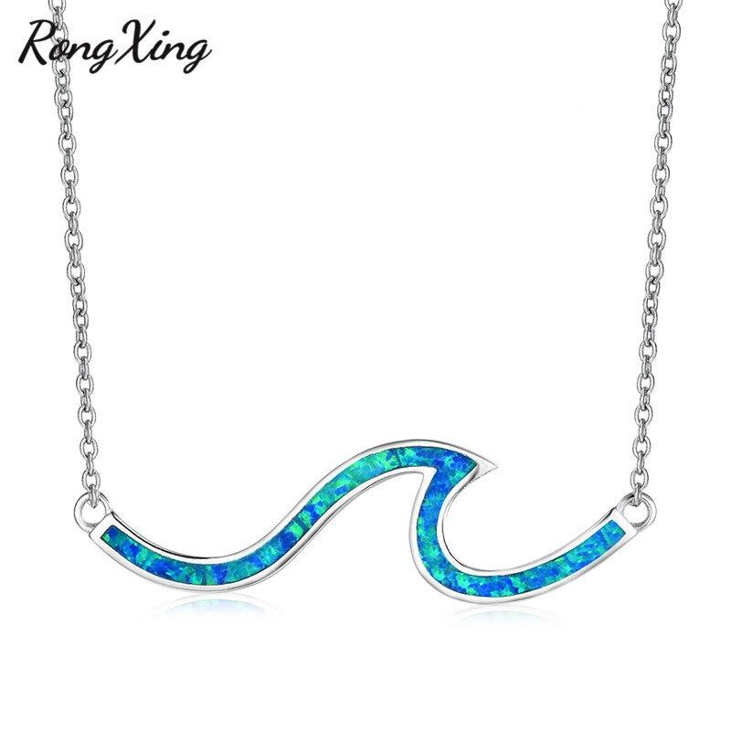 Rongxing branco azul fogo opala onda pingente colares para as mulheres cor prata/rosa ouro praia colar feminino verão oceano jóias