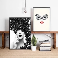 black butterfly woman abstract wall art canvas painting poster for home decor posters and prints unframed decorative pictures