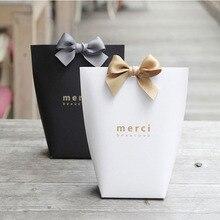 """5 adet lüks siyah beyaz bronzlaşmaya """"Merci"""" şeker çanta fransız teşekkür ederim düğün iyilik hediye kutusu paketi doğum günü parti Favor çanta"""
