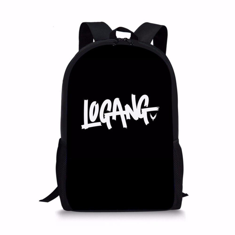 Noisydesigns الأسود Logang شعار لوجان بول الأطفال الحقائب المدرسية ل التين بوي الفتيات الطلاب قلم رصاص حقيبة على ظهره Mochila اجتماعيون