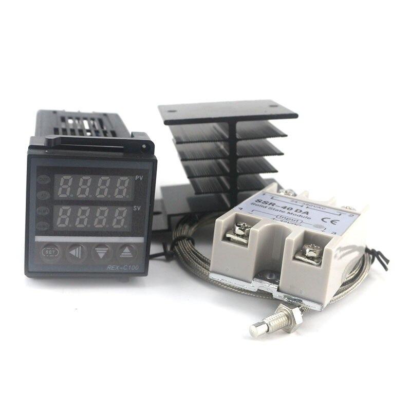 Kit Controlador de Temperatura duplo PID SSR Saída REX-C100 Termostato Digital 220 V AC com Dissipador de Calor SSR-40DA 2 m Qualidade K Sonda