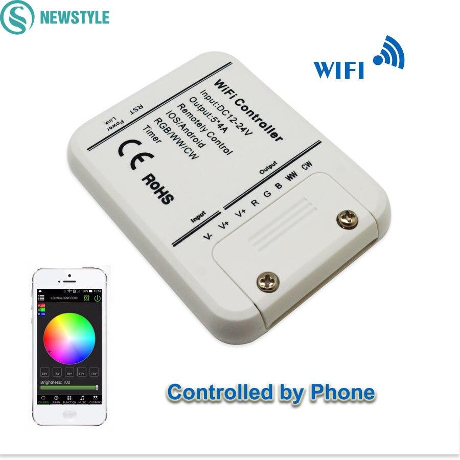 DC12-24V Wifi светодиодный контроллер оригинальный 16 миллионов цветов 5 каналов RGB/WW/CW смартфон управление музыкой и таймером