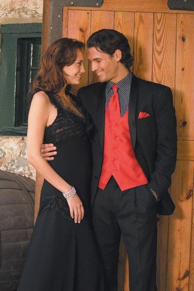 Custom Made Tuxedo For Prom Red And Black Tuxedo For Prom (coat + pants + vest, tie)man brand coat slim fit pants jacket