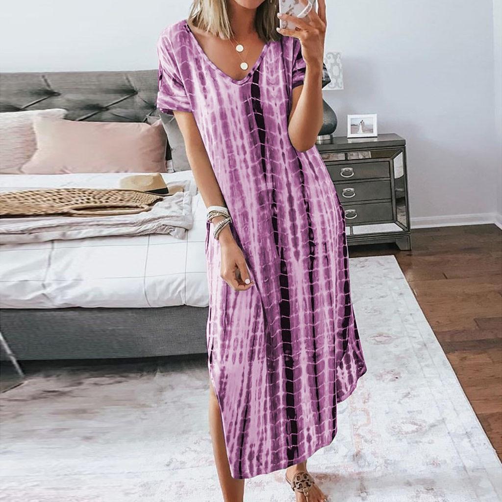 Summer Dress Fashion Women Casual Plus Size V-Neck Tie dyeing Print Split Short Sleeve Party Dress Vestidos Robe Femme D723