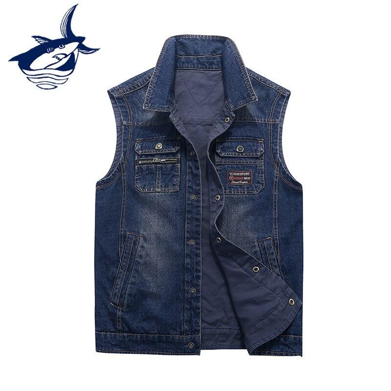 New Fashion Both Sides Wear Reversible Men's Denim Vest Brand Tace & Shark Vest Men Embroidery Single Breasted colete masculino