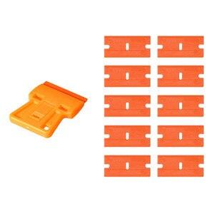 Image 1 - EHDIS скребок для очистки стекла, бритвенный скребок + 10 шт. пластиковых лезвий, автомобильные тонировочные инструменты, стикер для автомобиля, пленка для удаления клея, инструмент для виниловой обертки