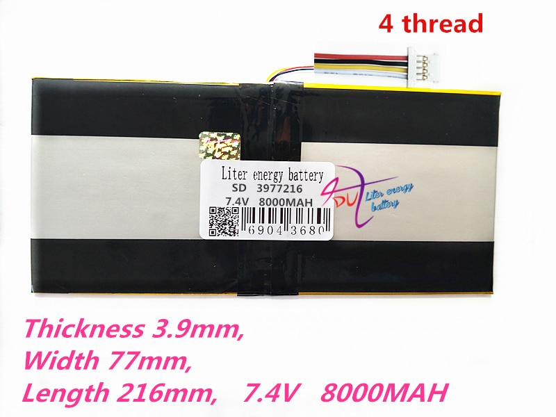 4 thread Liter energy battery 3977216 7.4V 8000MAH 3977108*2 Universal Li-ion battery for tablet pc 8 inch 9 inch 10 inch 11 inc