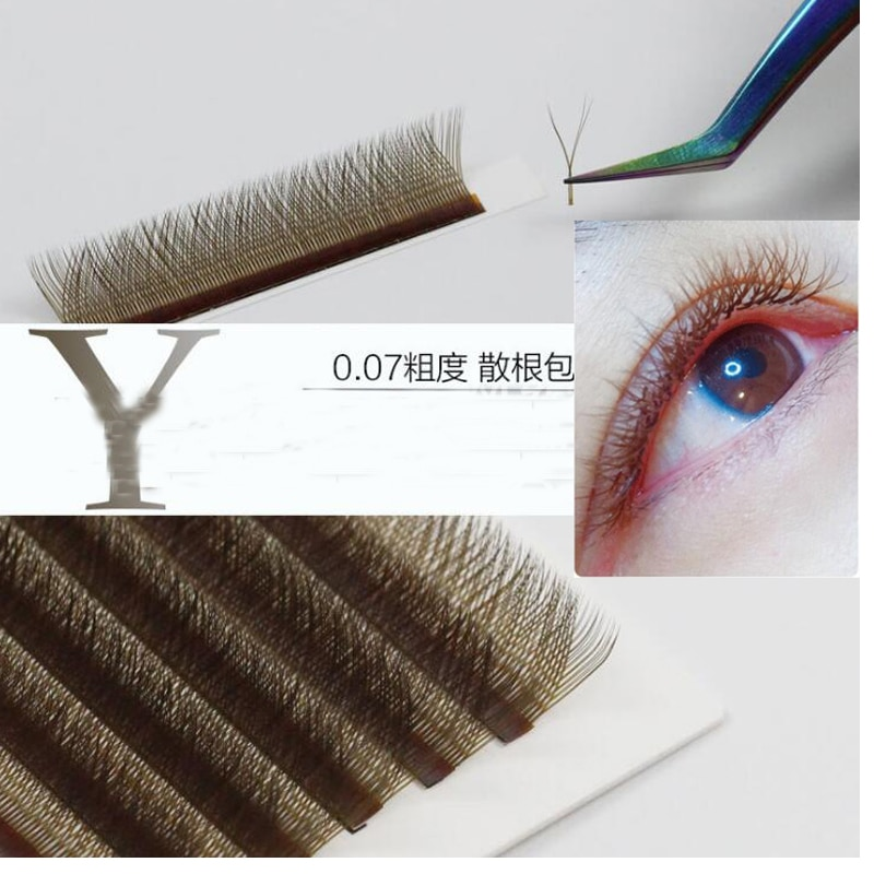 2019 new brown yy type eyelash extention love net braided y-shaped eye lash color auto flower super