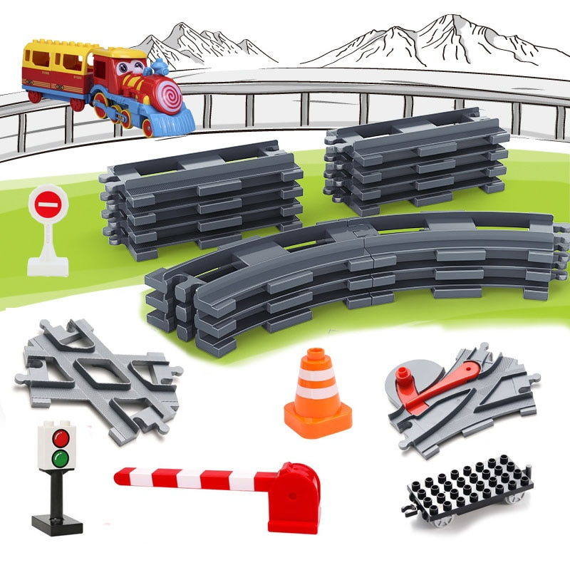 Railway Transport Assemble Big Building Blocks Track Set Compatible Duploes Train Bricks Home Intera