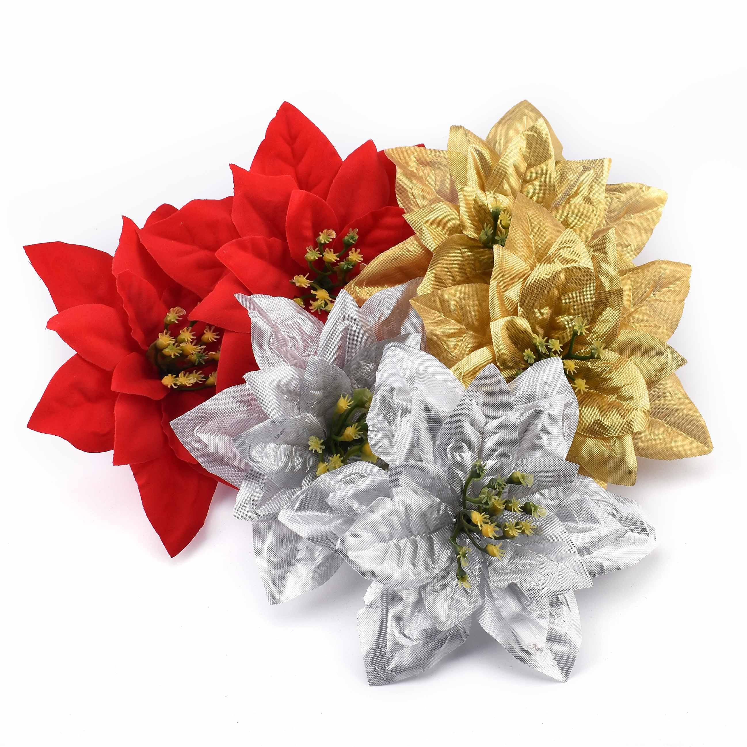 3 uds./15 cm grandes cabezas artificiales de flores de oro, plata, rosa roja para la decoración de la boda del hogar flores de seda del árbol de Navidad DIY