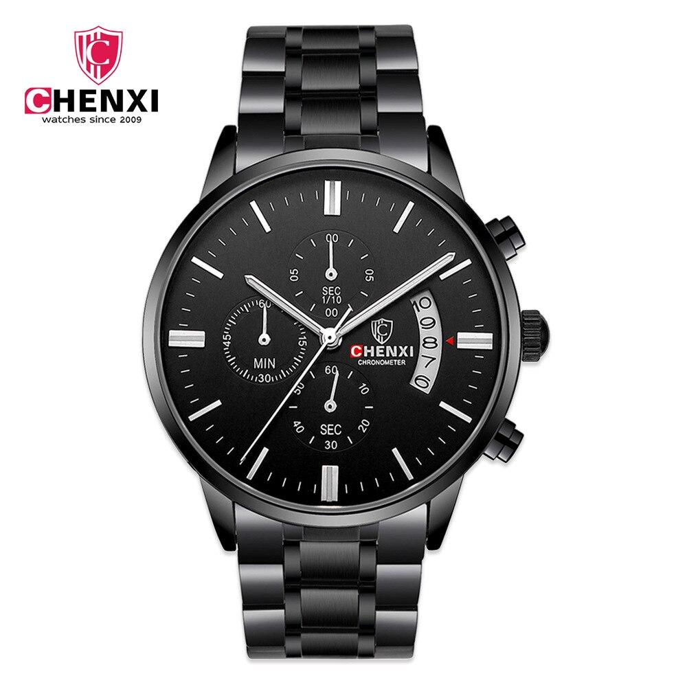 Chenxi marca relógios de luxo masculino multifuncional negócios quartzo relógio de pulso pulseira aço data exibição natate
