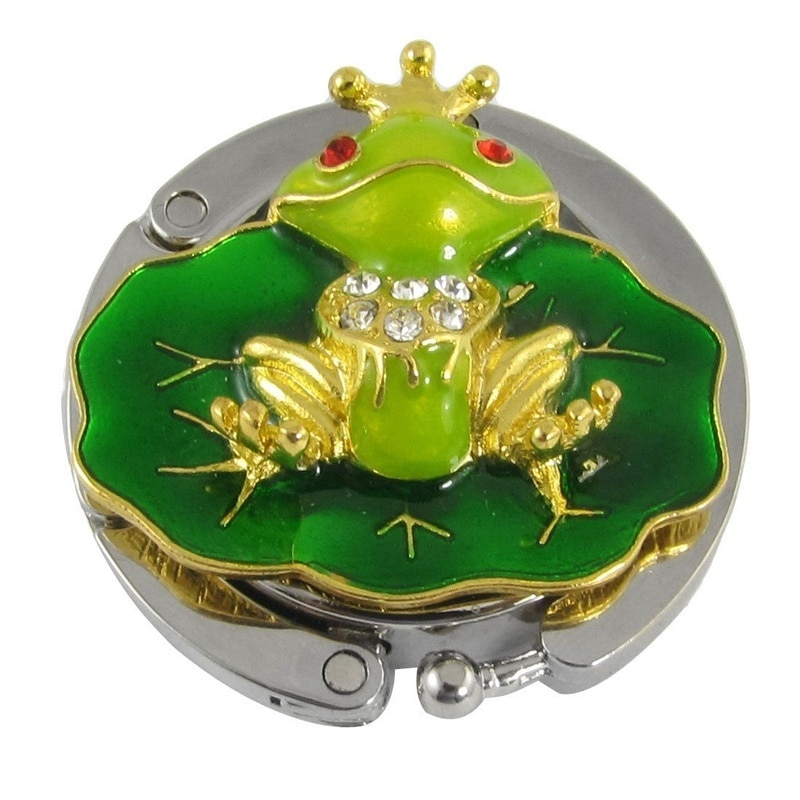Lindo tono dorado rana verde monedero con hojas bolso soporte de gancho de suspensión bolsa plegable bolso gancho bolso colgador titular