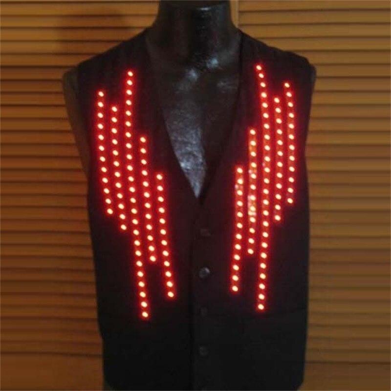 5ピースled発光ウェイターの制服服成長ノベルティvネック男のベストチョッキled点滅衣装ためktvバーdj