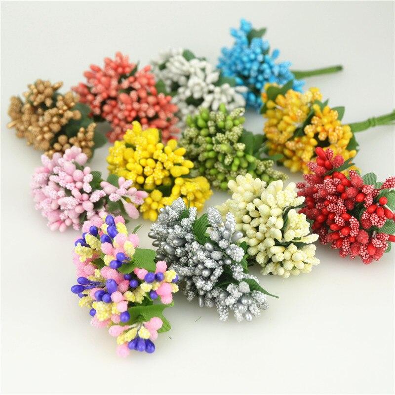 12 unids/lote flores artificiales pequeñas bayas Stamen Wire Stem/hojas para boda DIY corona álbum de recortes para boda caja decoración artesanal