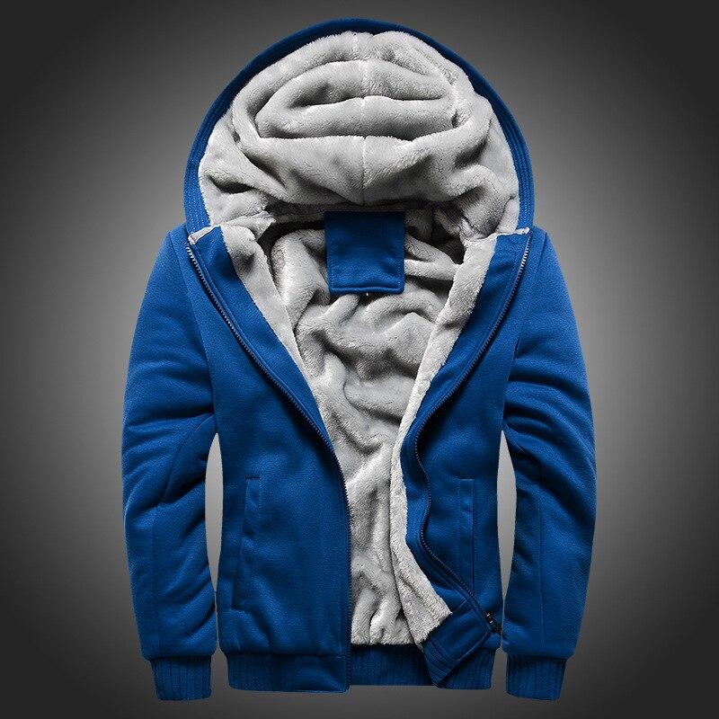 Winter Thicken Warm Velvet Men's Hooded Plush Paded Hoodies Man Wool Baseball Casual Hip Hop Zip Sweatshirts Coats