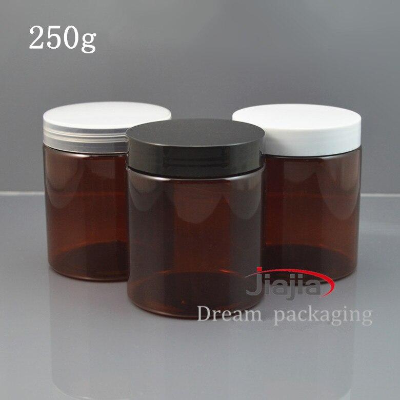 Película marrón de 30x250g de cara de botellas, productos para mascotas, botella amplia, botella de embalaje cosmético, latas vacías de cosméticos