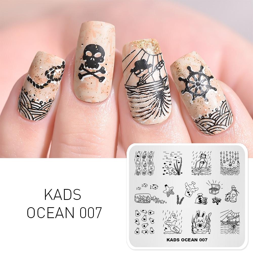 KADS Ocean 007 Drifting bottle Design nail art templates For nail art image plate Stainless Steel DIY Template art stencil