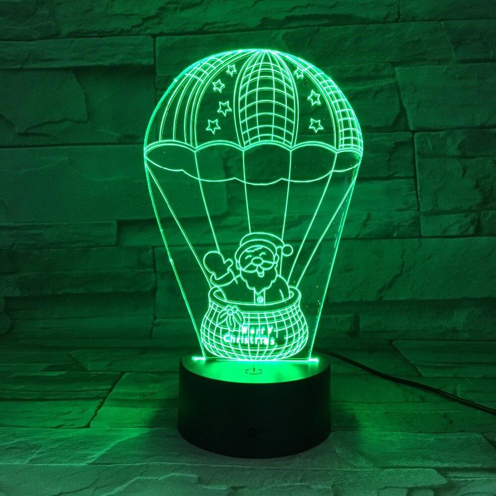 Globo de aire caliente de Santa Claus, lámpara de 7 colores, luces Led 3D de noche para niños, lámpara de mesa táctil, Lámpara decorativa para fiesta de Navidad, regalo