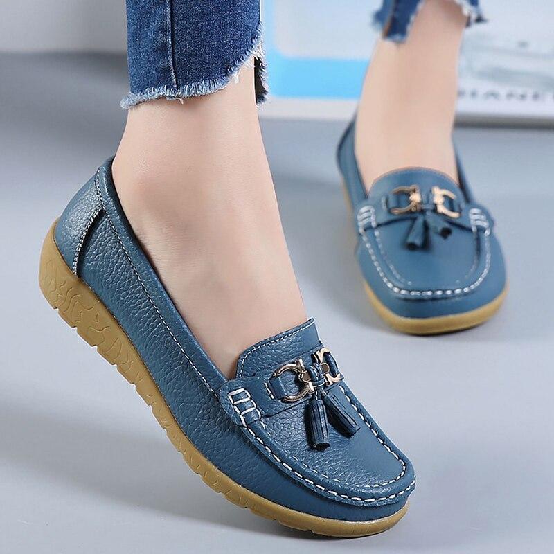 Sapatos planos femininos de couro genuíno moda casual superstar senhoras mocassins franja sólida sapato feminino macio plus size 42-44