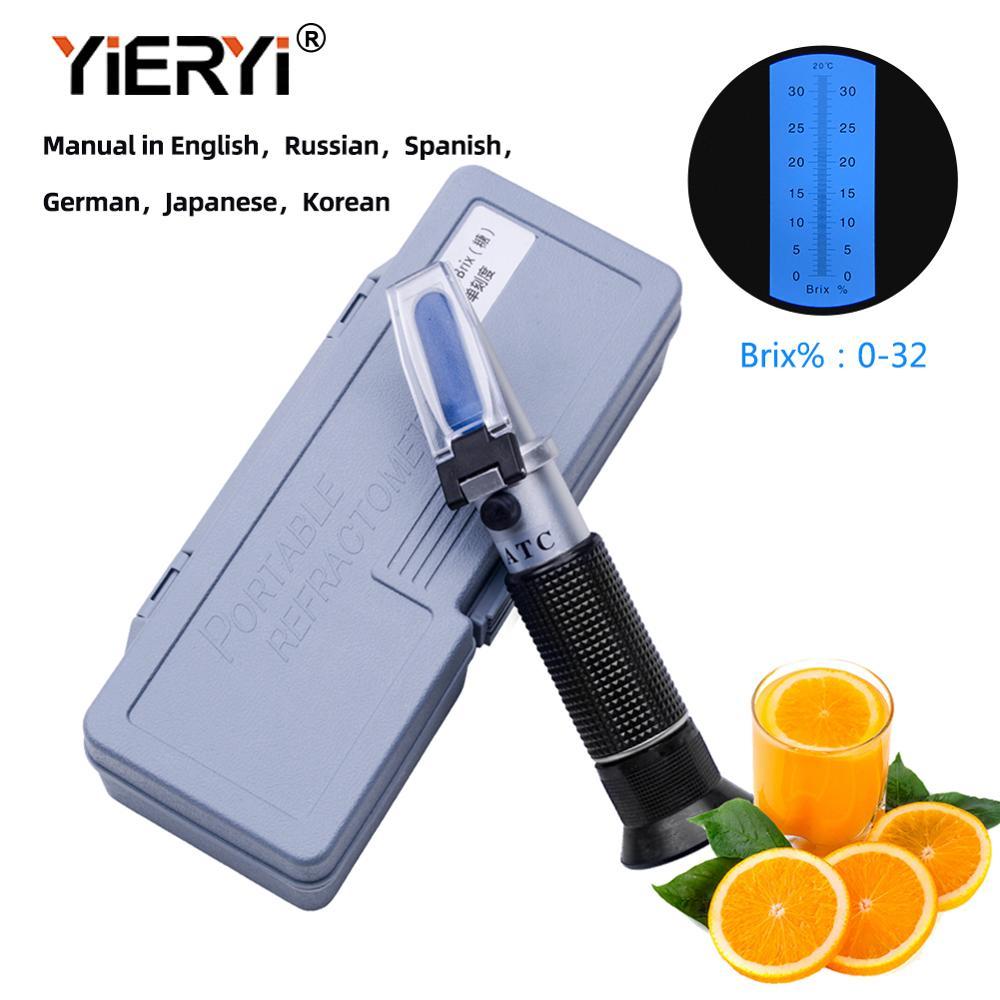 Brix Refractometer Ror Brix Sugar Beer 0-32% Brix Hand Held  Refractometer ATC Optical Test Meter With The Retail Box