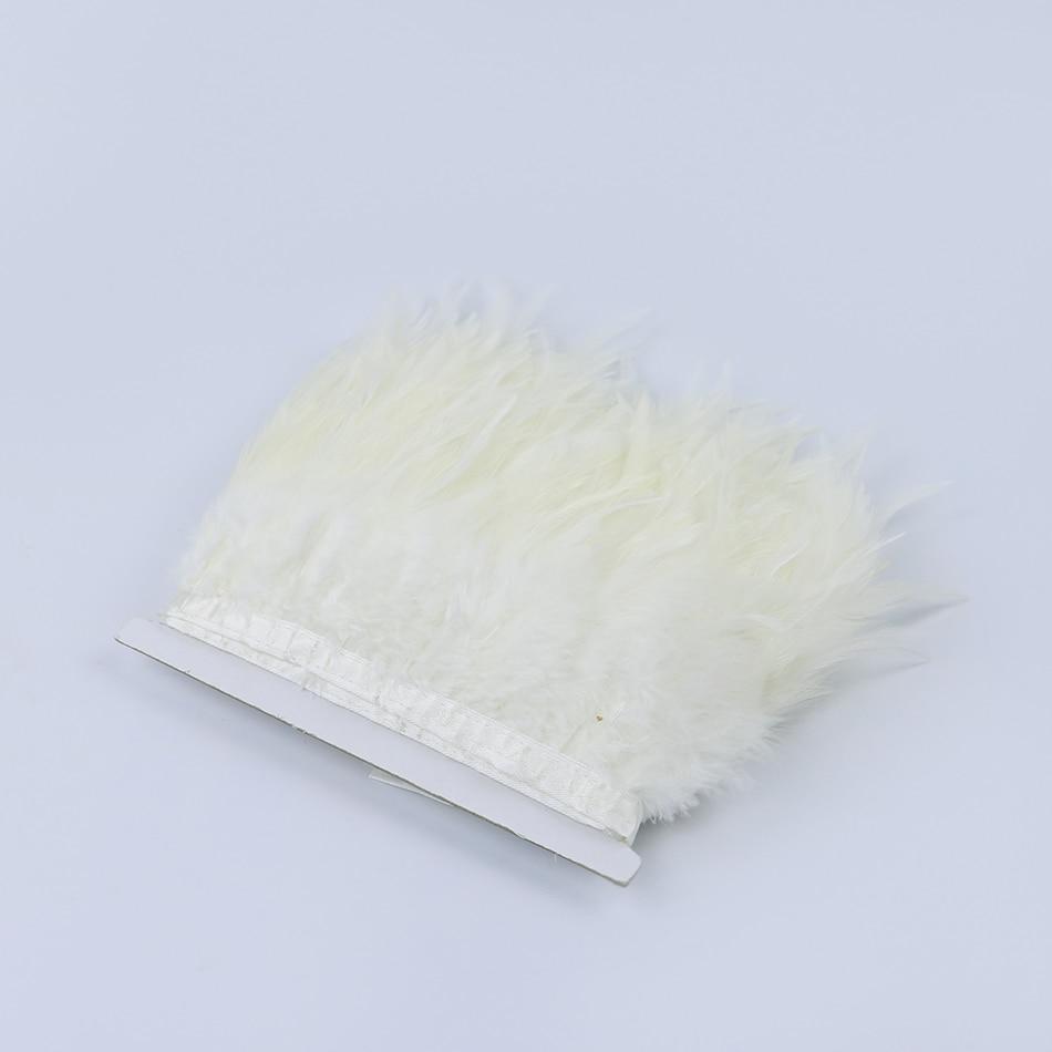 2 yardas/lote de montura de gallo blanco adorno de plumas cintas con flecos 8-13 cm decoración del hogar fiesta de boda festival