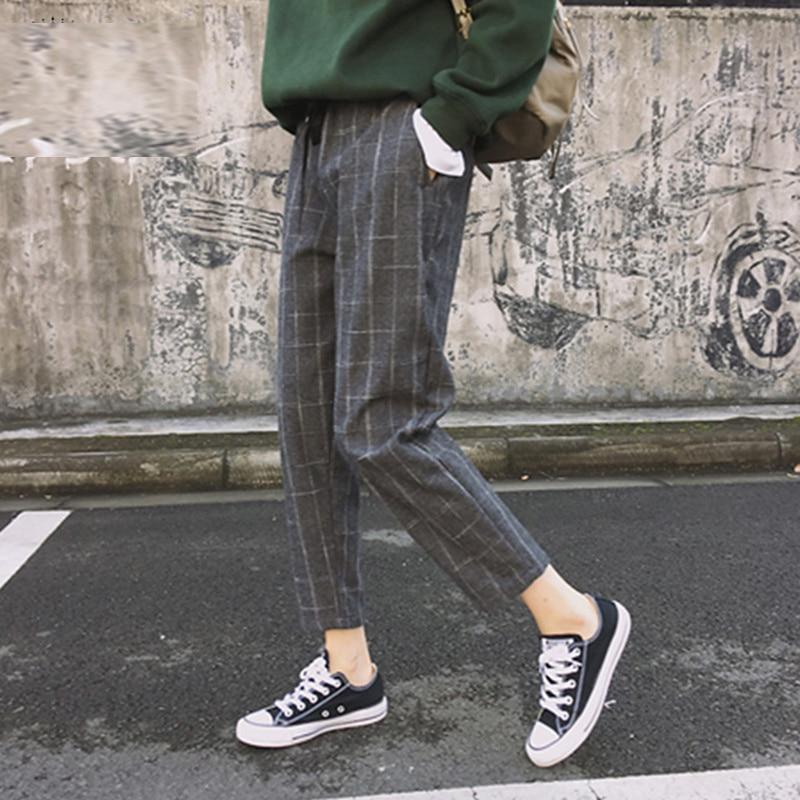 Bigsweety Vintage Plaid Harem Pants Harajuku 2018 Fashion Women Elastic Waist Trousers Korean Style Nine Pants Pantalon Femme