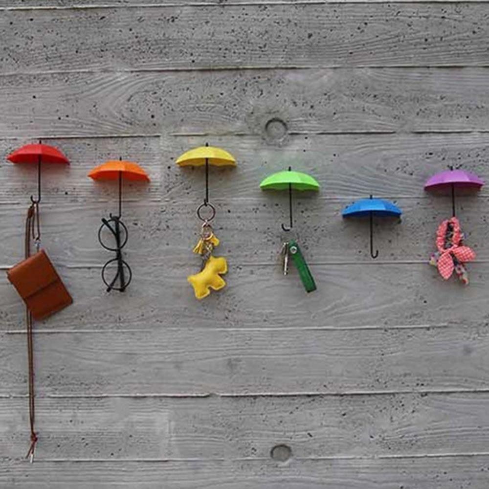 3Pcs Colorful Umbrella Wall Hook Key Hair Pin Holder Organizer Decorative Brand New Robe Hooks Bathroom Hardware