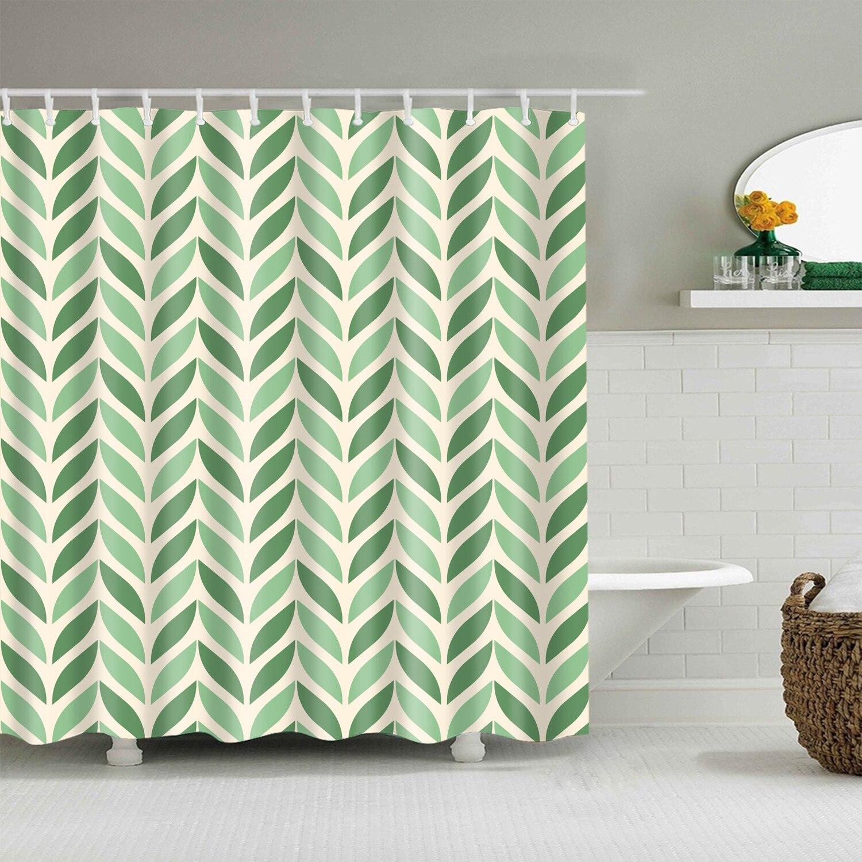 Cortina de ducha de tela de poliéster a prueba de agua 180x200cm, cortina de baño de plantas verdes para baño, cortina de ducha opaca con estampado 3D