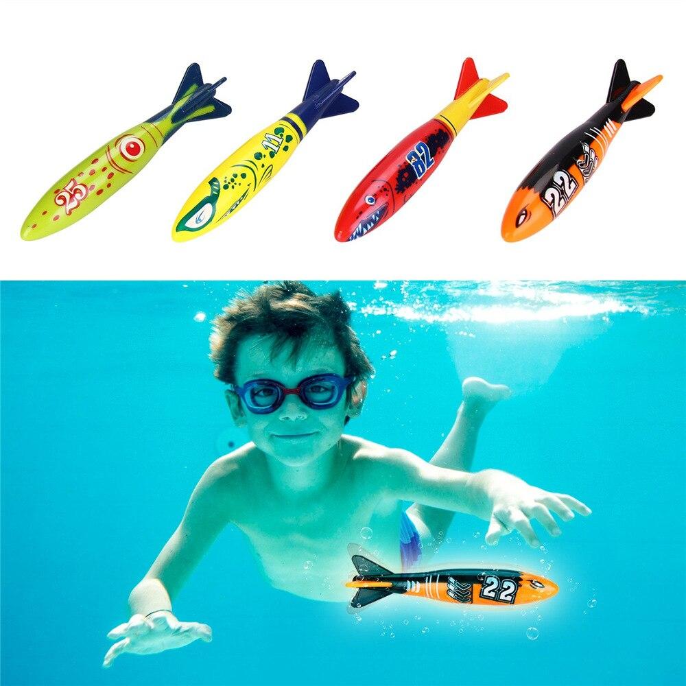 Child Swimming Pool Toy Diving Practise Tin Fish Set 4pcs