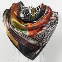 spring autumn female silk square scarf shawl china style polyester satin hijabs scarves women silk scarves coffee 9090cm