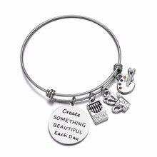 Crayons de peinture Palette brosse bracelet à breloques créer quelque chose de beau chaque jour filles bracelet Inspiration bijoux cadeaux pour artiste