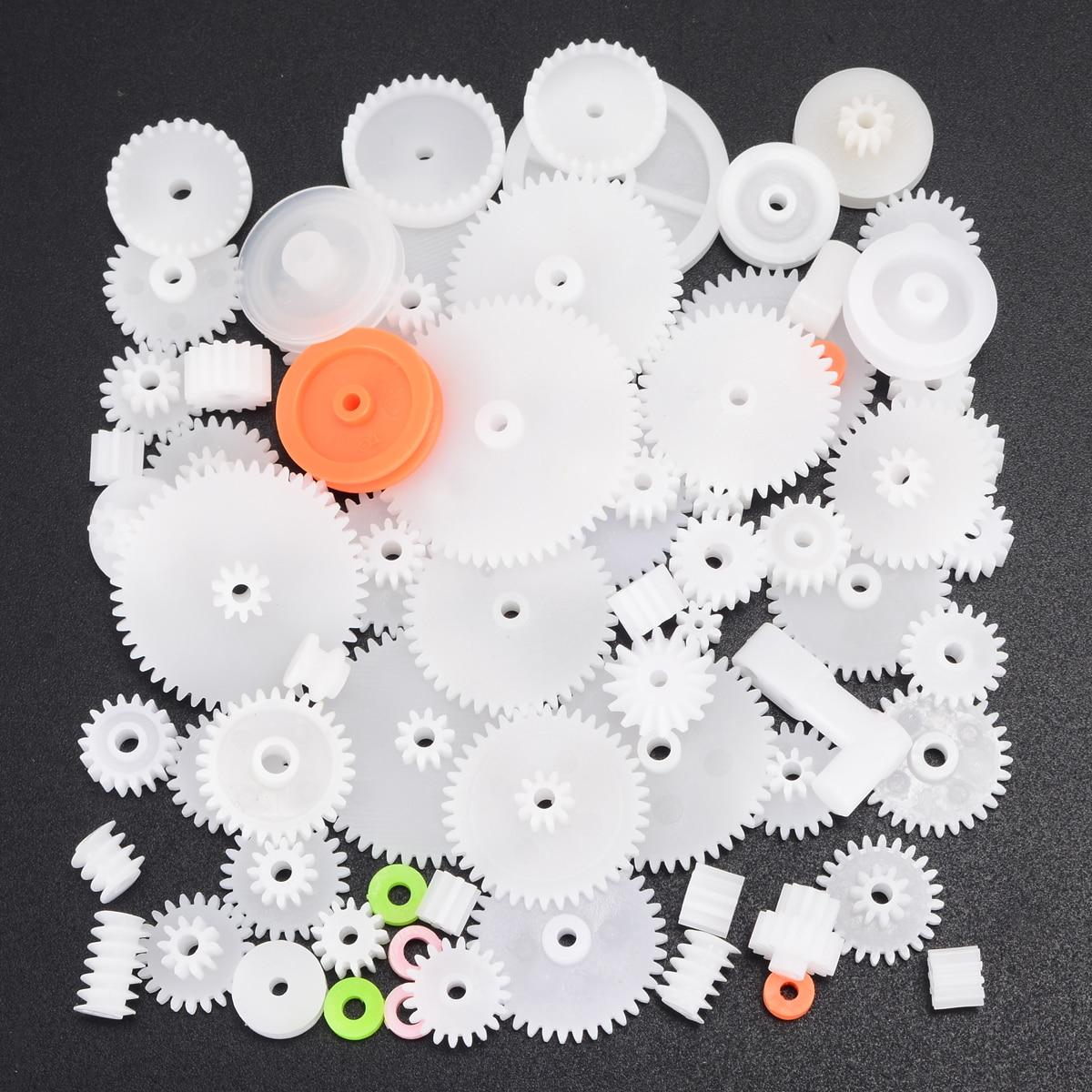 Nuevo Motor de engranajes de plástico de 64 tipos, eje de plástico de una sola capa, engranajes helicoidales de corona M0.5 para Robot, Kit de herramientas de surtido DIY
