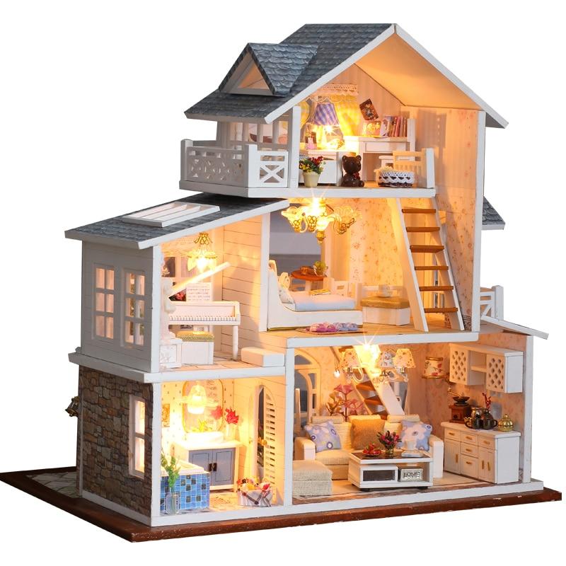 Casa de muñecas CUTEBEE DIY, Casa de muñecas de madera, Casa de muñecas en miniatura, muebles, Kit de Casa, música, Juguetes Led para niños, regalo de cumpleaños K18