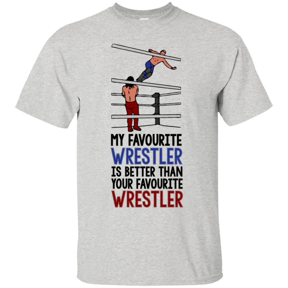 Mi luchador favorito es mejor que tu divertido anillo favorito camiseta de lucha libre hombres Casual Camisa de cuello redondo Tee
