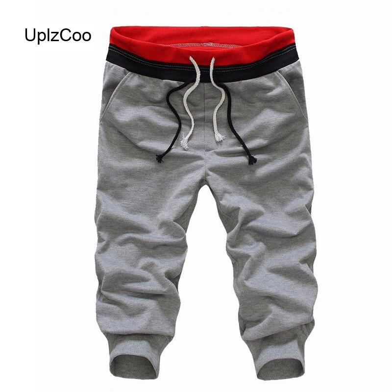 UplzCoo Summer Men's Casual Pants Ropped Pants Male Drawstring Jogging Pants Loose Street Fashion Sports Pants Was Thin FM034